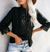 LIAM Crochet Floral Button Up Shirt - Black