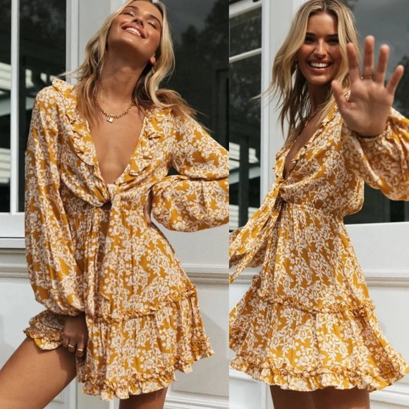 HONEY Floral Print Knotted Long Sleeve Mini Dress - Yellow