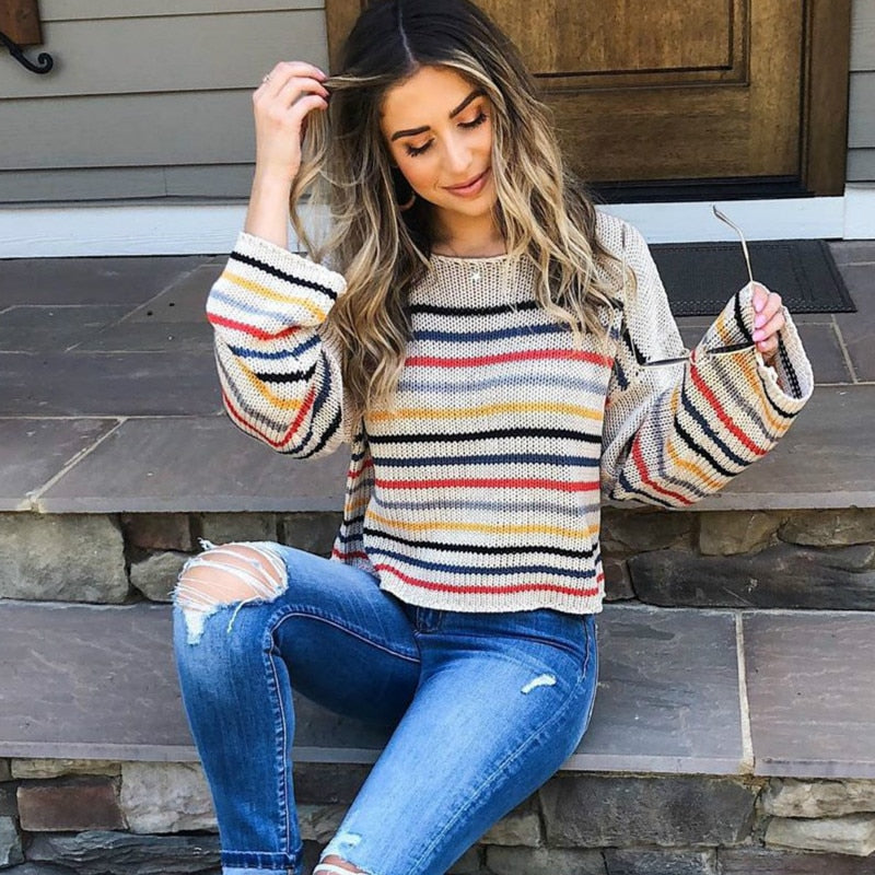 CARLILE Rainbow Stripe Sweater - Black