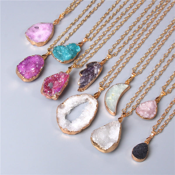 ALUNA Crystal Slice Necklaces