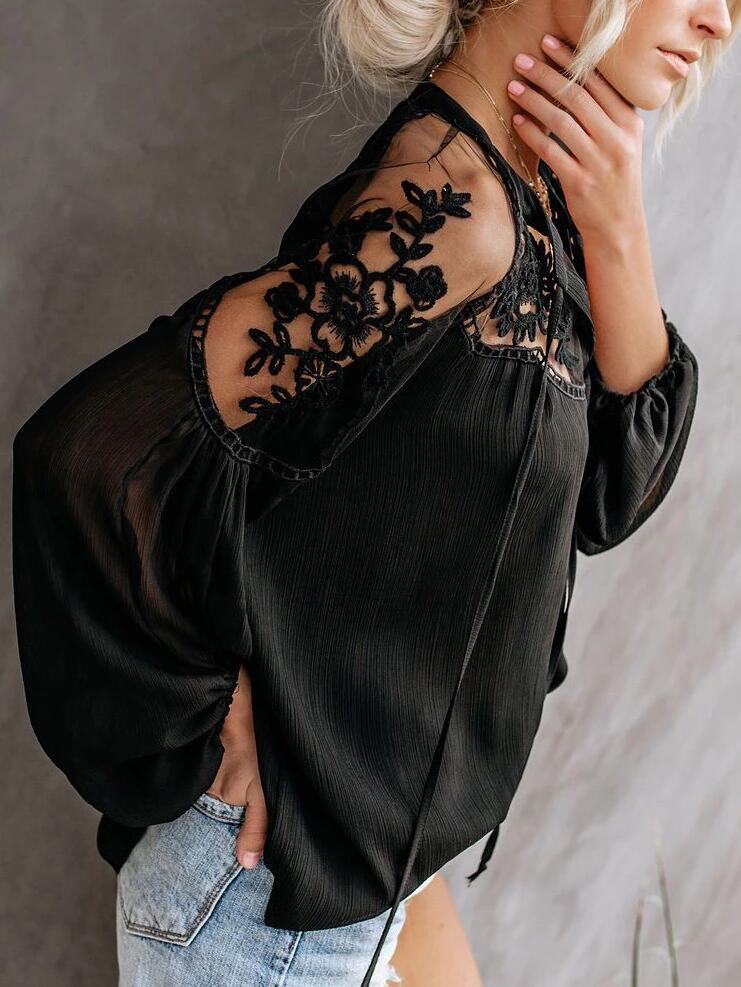ALANA Lace Cold Shoulder Top - Black