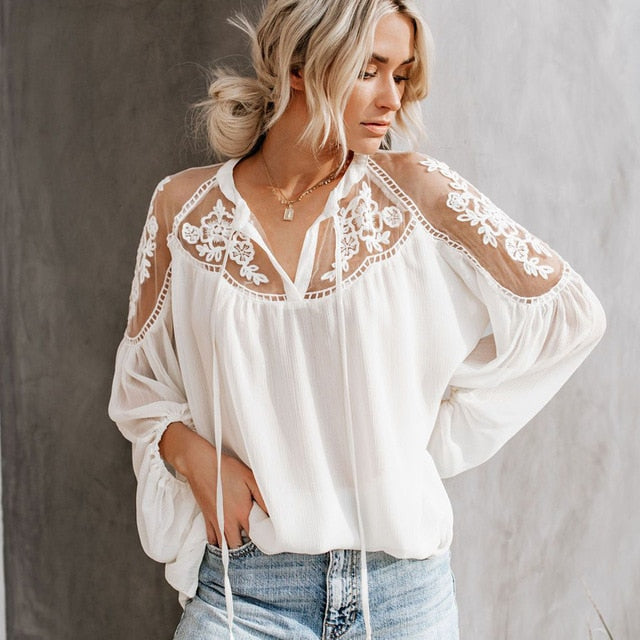 ALANA Lace Cold Shoulder Top - White