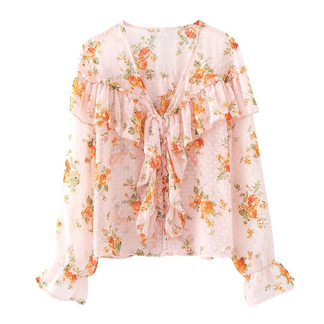 EMBERLY Floral Ruffle Long Sleeve Top