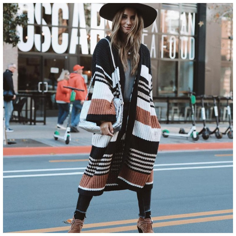 JANELLE Oversized Striped Knit Cardigan