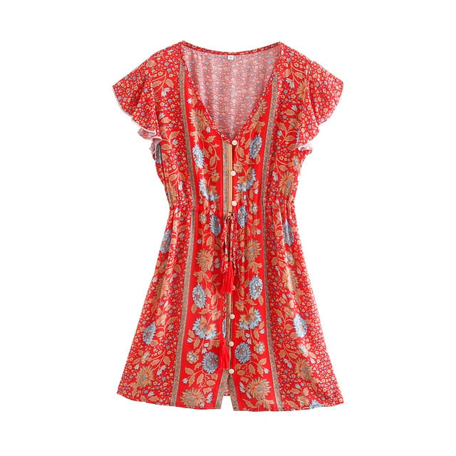 RAVEN Floral Print Button Up Mini Dress - Red