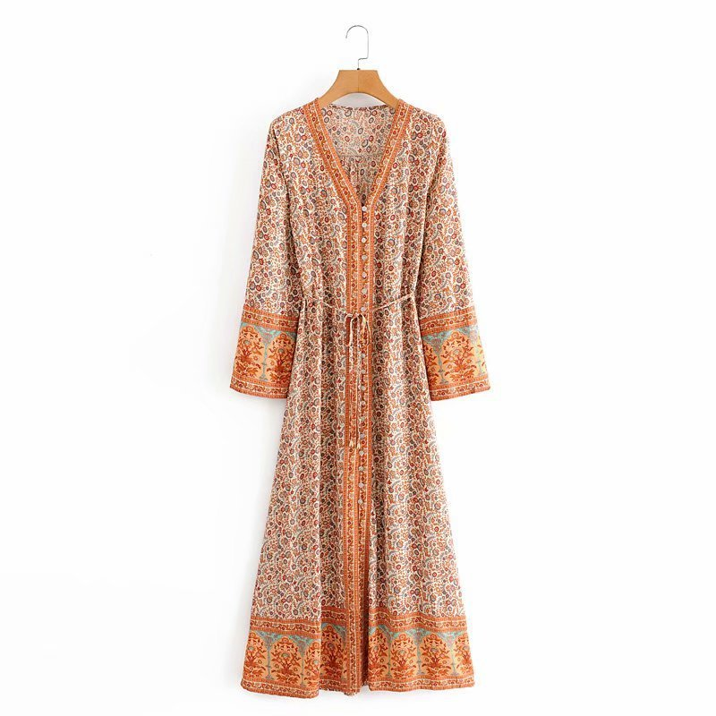 BELLA Button Up Long Sleeve Maxi Dress - Orange