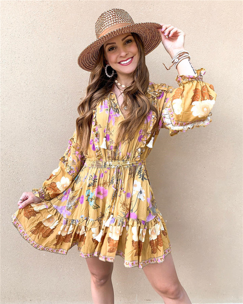 MAELYN Long Sleeve Ruffle Floral Print Dress