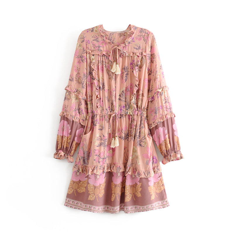 MAELYN Long Sleeve Ruffle Floral Print Dress - Pink