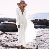 RIVER Long Sleeve Lace Maxi Dress - WHITE
