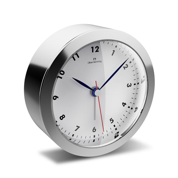 HX81S85W Polished Stainless Steel Obsession Alarm Clock