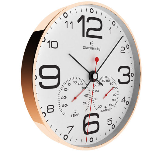 Rose Gold Simplex Weather Station Clock - W300R51WTB