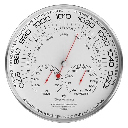 Brushed stainless steel 30cm Simplex Barometer - W300SB105W
