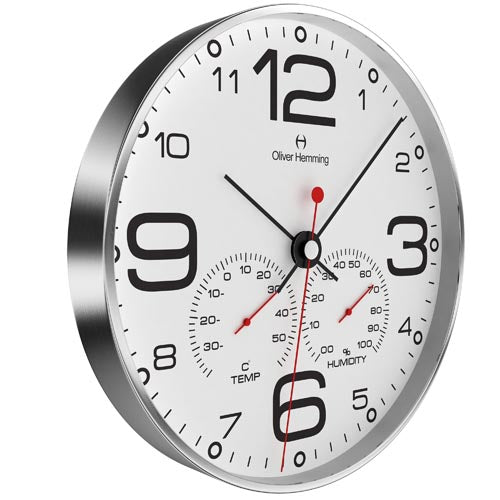 Brushed stainless steel Weather Station Clock - W300SB51WTB