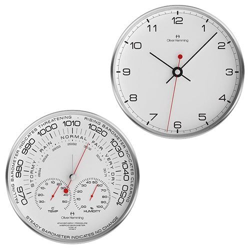 Brushed stainless steel Barometer & Clock Pair