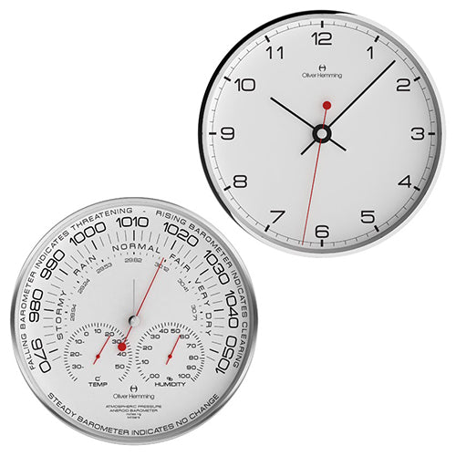 Chrome Barometer & Clock Pair