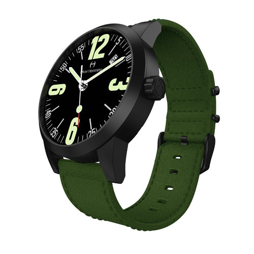 Black Grand Stainless Date with Green Nylon Strap - WT17B66BAN