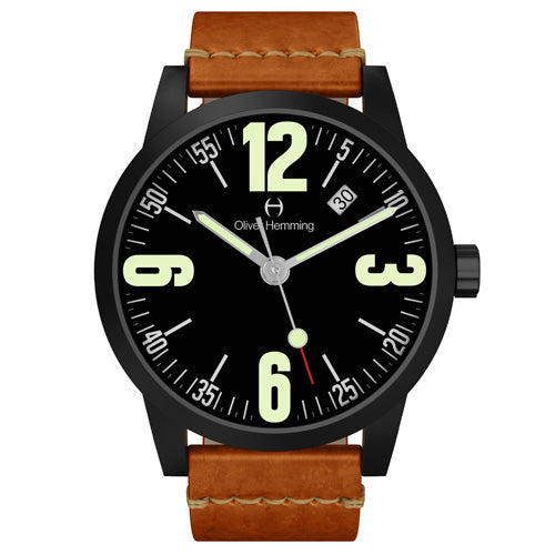 Black Grand Stainless Date with tan strap - WT17B66BVT