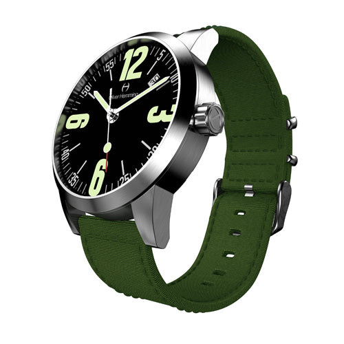 Brushed Grand Date with green nylon strap - WT17SB66BAN