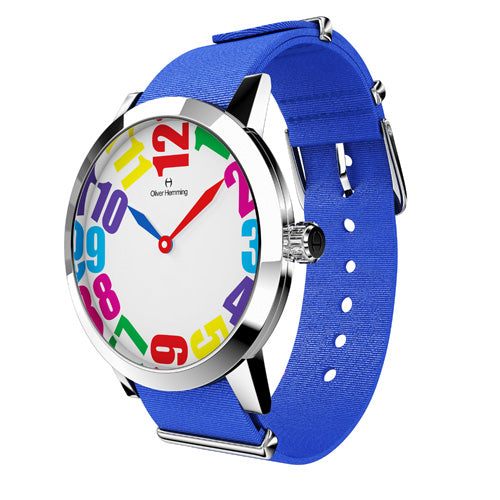 Louis - Stainless Steel with blue nylon strap - WT18S20CBLNC