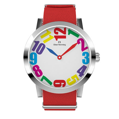 Louis - Stainless Steel with  Red nylon strap - WT18S20CRNC