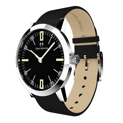 Louis - Stainless Steel with  Black  leather strap - WT18S45BBL