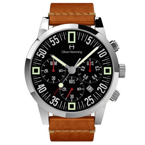 Polished Chronograph with tan leather - WTC17S80BVT