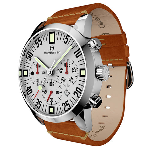 Polished Chronograph with tan leather - WTC17S80WVT