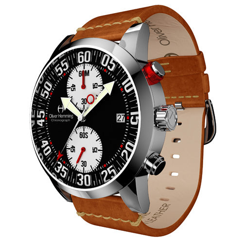 Polished Sport Chronograph with Tan Leather Strap- WTC17S81BWVT
