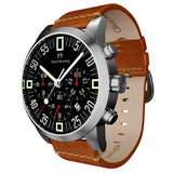 Brushed Chronograph with Tan leather - WTC17SB80BVT