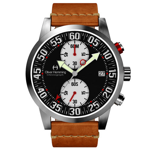 Brushed Sport Chronograph with Tan Leather Strap - WTC17SB81BWVT