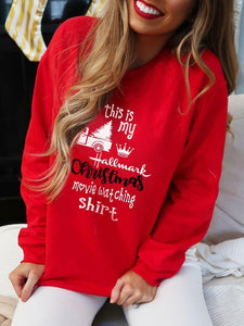 Women's Hallmark Christmas Movie Watching Shirt Casual Hoodie