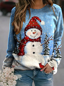 Women's Casual Christmas Snowman Printed Sweatshirt