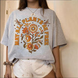 Round neck short sleeve pattern printed loose pullover women's T-shirt
