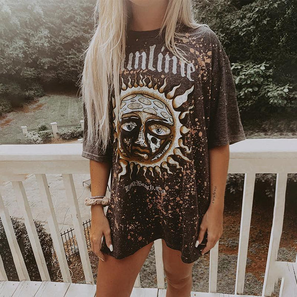 Casual Round Neck Short Sleeve Fashion Print Long T-shirt