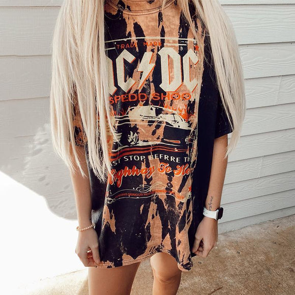 Casual Round Neck Short Sleeve Printed Long T-shirt