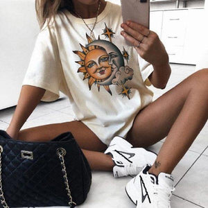 Vintage moon sun printed short-sleeved t-shirts
