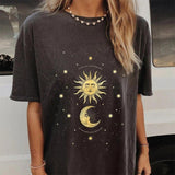 Loose round neck short sleeve printed mid-length T-shirt