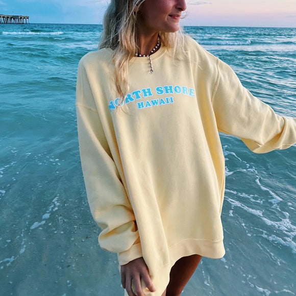 Yellow letter printed casual sweatshirt