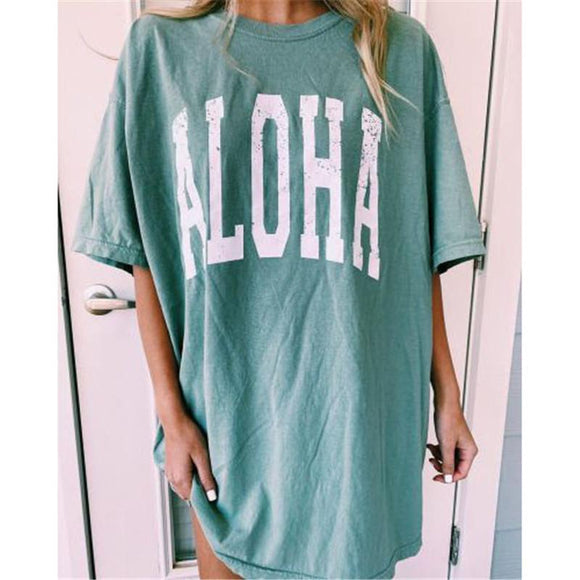 Women's long loose printed short sleeve t-shirt