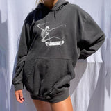 Long sleeves skeletons print hooded sweatshirt