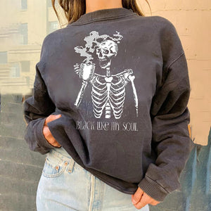 Casual loose skeleton printed sweatshirt