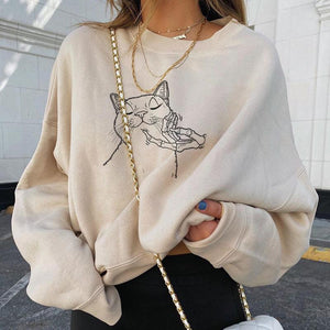 Skeleton play with cats designer print sweatshirt