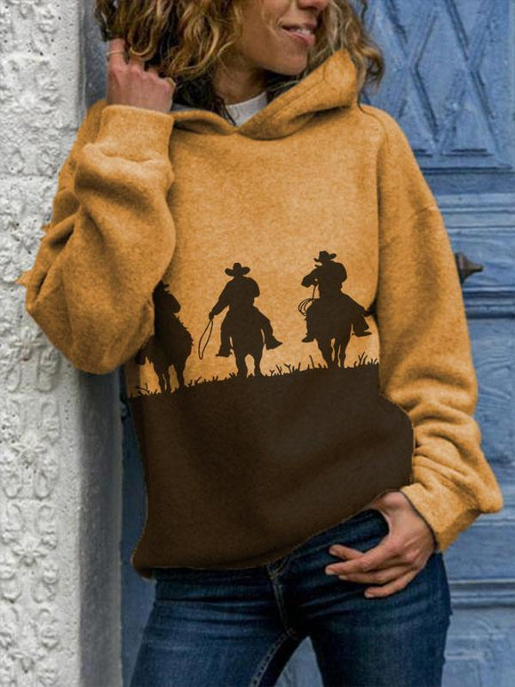 Women's western style riding print hoodie