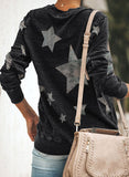 Color Block Star Camouflage Camouflage Long Sleeve Sweatshirt