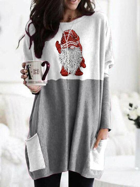 Christmas dwarf printed long sleeve T-shirt