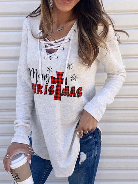 Women's Merry Christmas Print Lace-Up Top