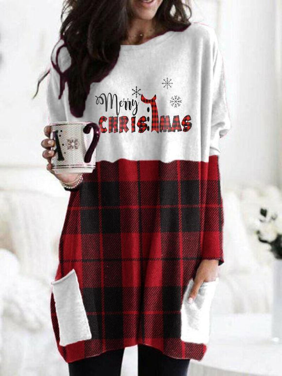 Merry Christmas Check Color Block Pocket Top