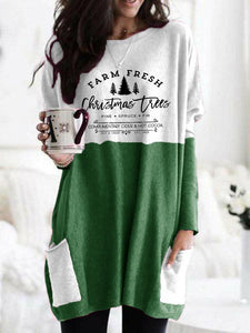 Women's Farm Fresh Christmas Trees Pine Spruce Fir Complimentary Cider & Hot Cocoa Cut & Carry Est. 1929 Printed Pocket Contrast Top