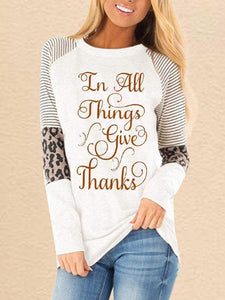 Women's Thanksgiving In All Things Give Thanks Printed Long Sleeve Sweatshirt