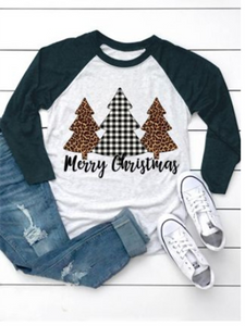 Women's casual loose Christmas Christmas tree letters Merry Christmas Trees top T-shirt
